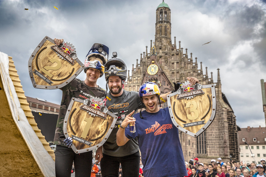 Nicholi Rogatkin of the United States C celebrates with Emil Johansson of Sweden L and Szymon Godziek of Poland R during the Award Ceremony at the Red Bull District Ride 2017 in Nuremberg Germany on September 2nd 2017 Flo Hagena Red Bull Content Pool AP-1T3XVUQ9S2111 Usage for editorial use only