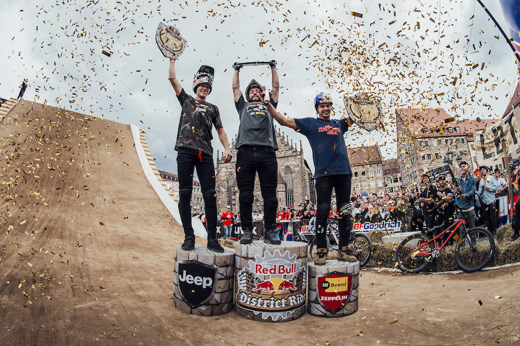 Nicholi Rogatkin of the United States C celebrates with Emil Johansson of Sweden L and Szymon Godziek of Poland R during the Award Ceremony at the Red Bull District Ride 2017 in Nuremberg Germany on September 2nd 2017 Bartek Wolinski Red Bull Content Pool AP-1T3YAT5NN2112 Usage for editorial use only