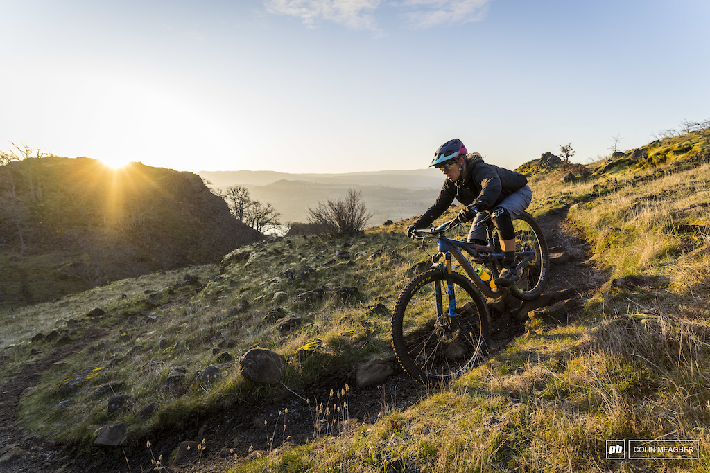 Nikki Rohan on a dawn patrol test session for Pinkbike on the Syncline Trail system near Bingen WA