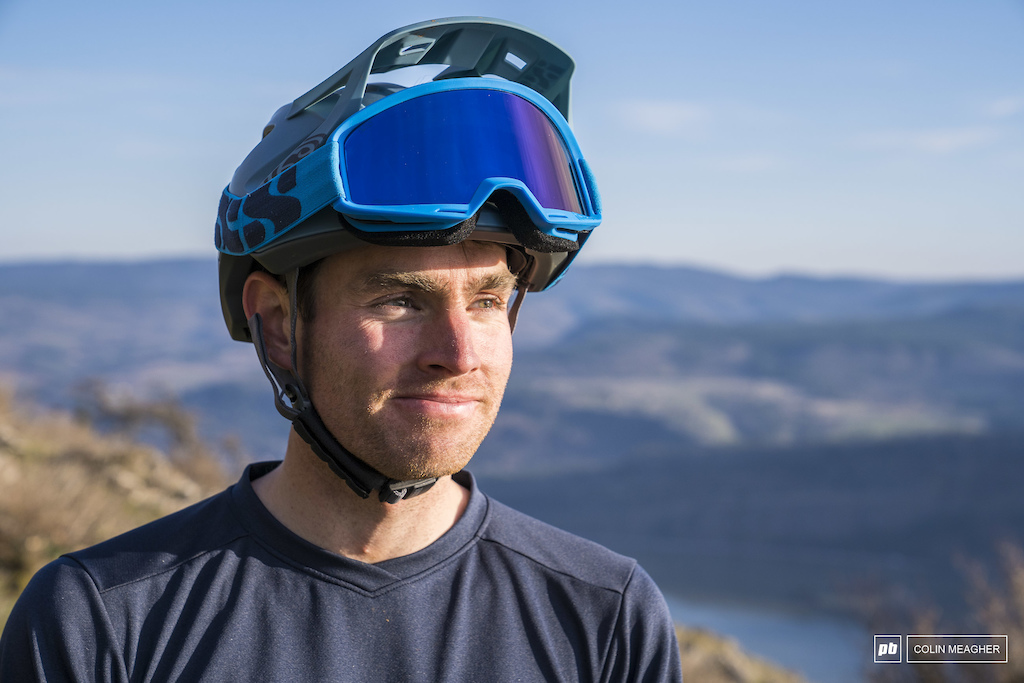 Pierce Martin testing goggles on the Syncline Trail network.