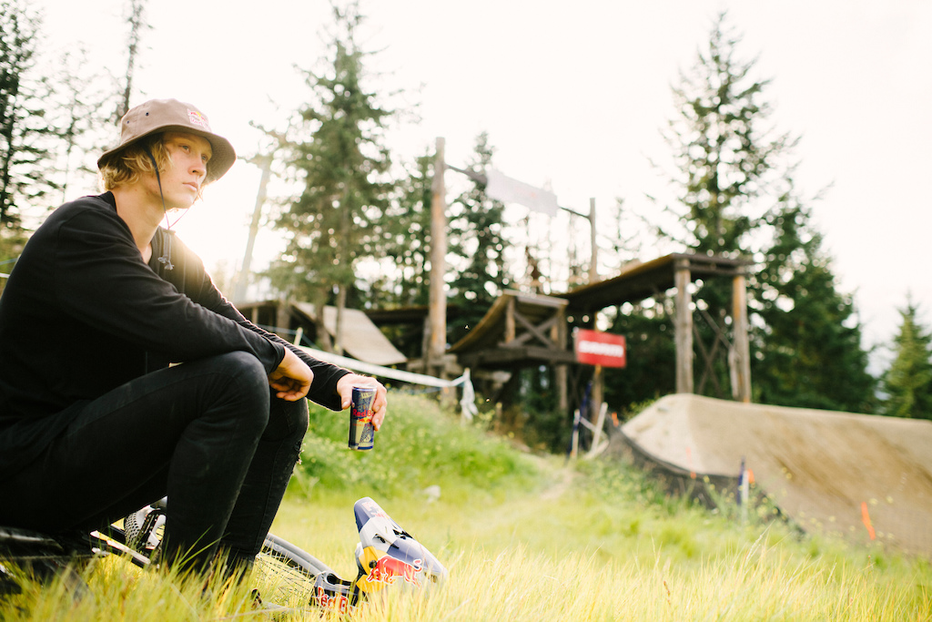 Emil Johansson prepares to practice at Red Bull Joyride in Whistler British Columbia Canada on 17 August 2019. Paris Gore Red Bull Content Pool