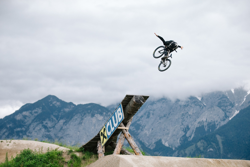 Emil Johansson competing in the Crankworx Slopestyle event in Innsbruck Austria on June 16th 2019. Saskia Dugon Red Bull Content Pool
