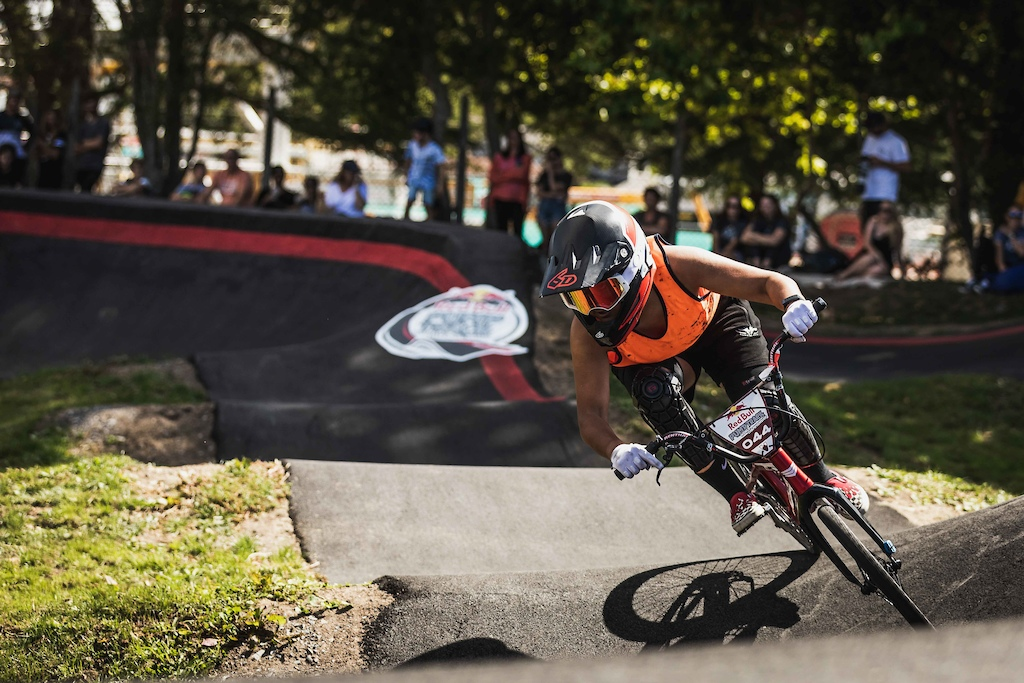 Jessie Smith participates at the Red Bull Pump Track World Championships in Cambridge New Zealand.
