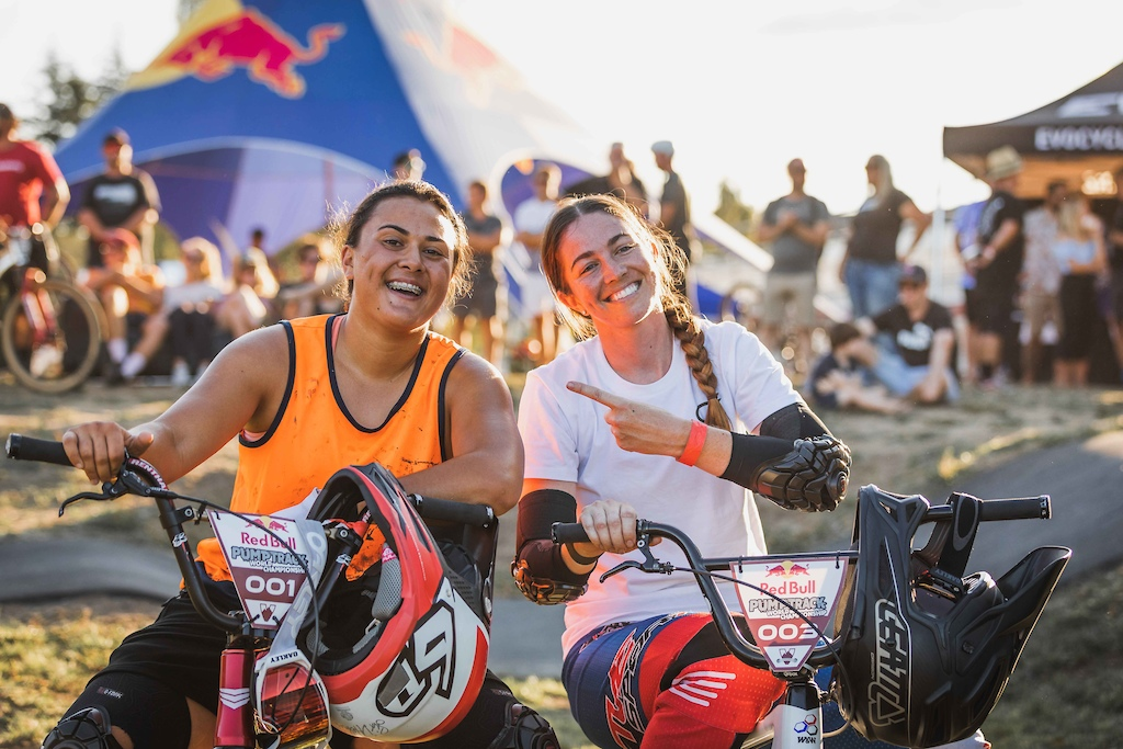 Jessie Smith and Sarah Walker at the Red Bull Pump Track World Championships in Cambridge New Zealand.