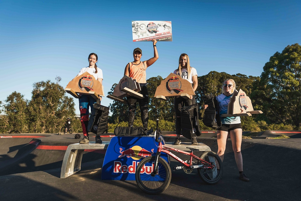 Women s Podium at the Red Bull Pump Track World Championships in Cambridge New Zealand.