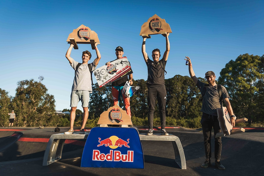 Men s Podium at the Red Bull Pump Track World Championships in Cambridge New Zealand.