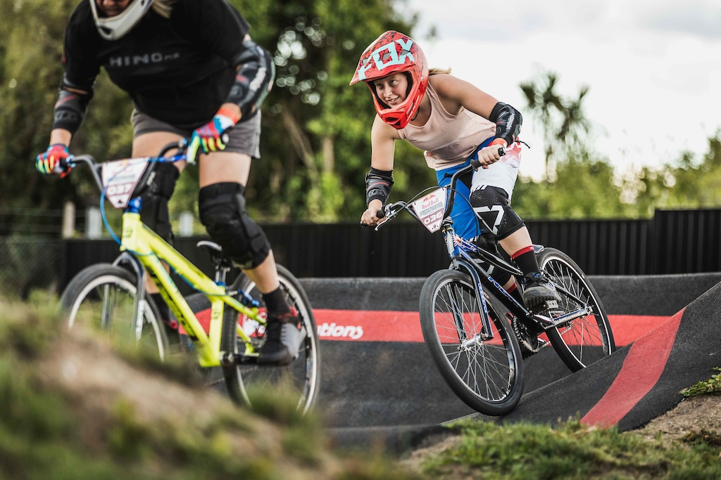 Athlete participates at the Red Bull Pump Track World Championships in Cambridge New Zealand.