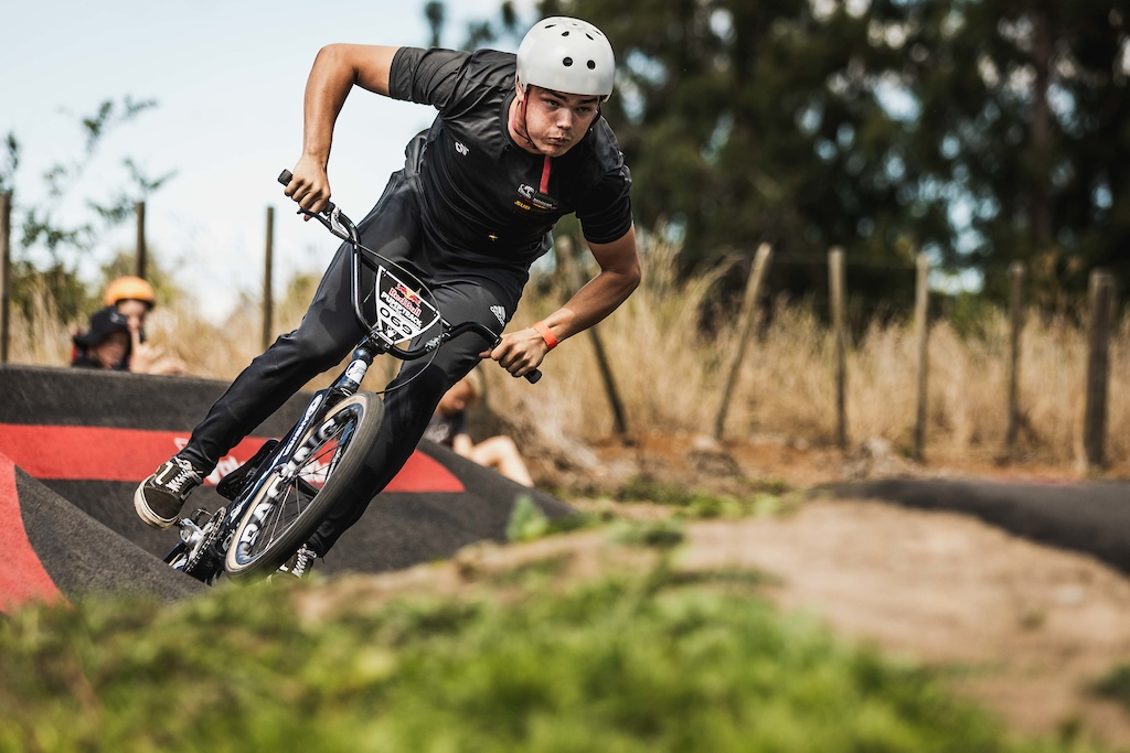 Jayden Fleming participates at the Red Bull Pump Track World Championships in Cambridge New Zealand.