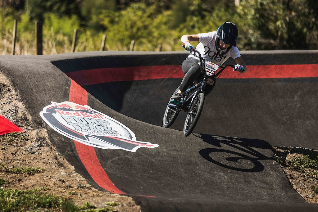 Rebecca Petch participates at the Red Bull Pump Track World Championships in Cambridge New Zealand.