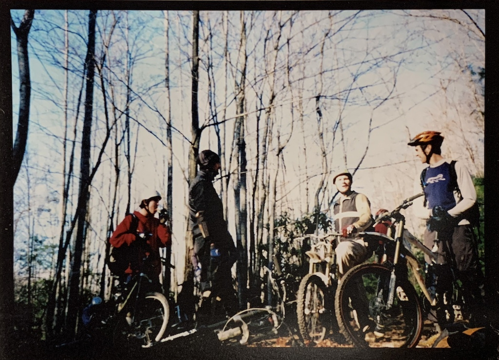 2001 Weekend at Wilson's ride, Wilson Creek NC. Brian Tunstill, Lee McGuffey, Billy Bad Ass, and myself, photo by Jesse 'the Dude' Hooks. Big bikes with dual crowns and triple chainrings! The Banshee Scream with Monster T was a rad setup.