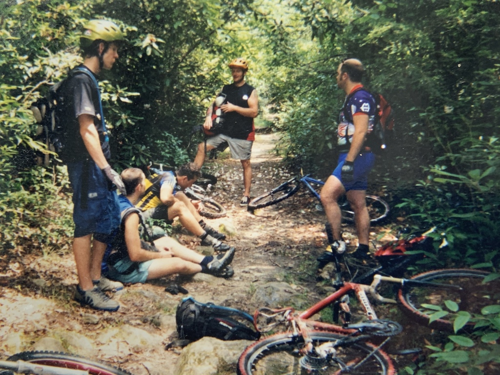 Can't remember the trail name but this is right after a deep creek crossing, year 2000, Wilson's Creek. (l to r) Brian Tunstill, Racer Russ, Evan St.Clair, Matt Norris, Thomas Clendenin. Our rides used to be nothing short of an adventure every weekend. Unknown territory, zero fucks given about riding hiking trails because there was no one else out there.