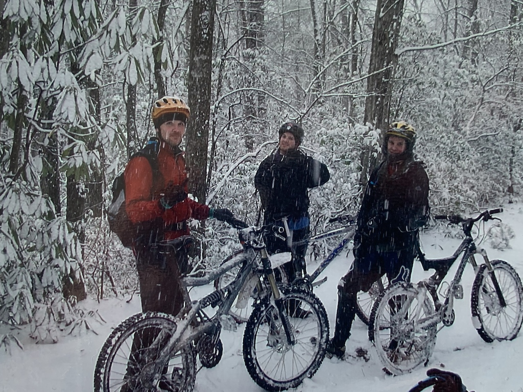 Misery loves company. Matt Norris, Mike Maloney, Thomas Straughn on a typical winter Wilson's Creek ride. Back when boys were men.
