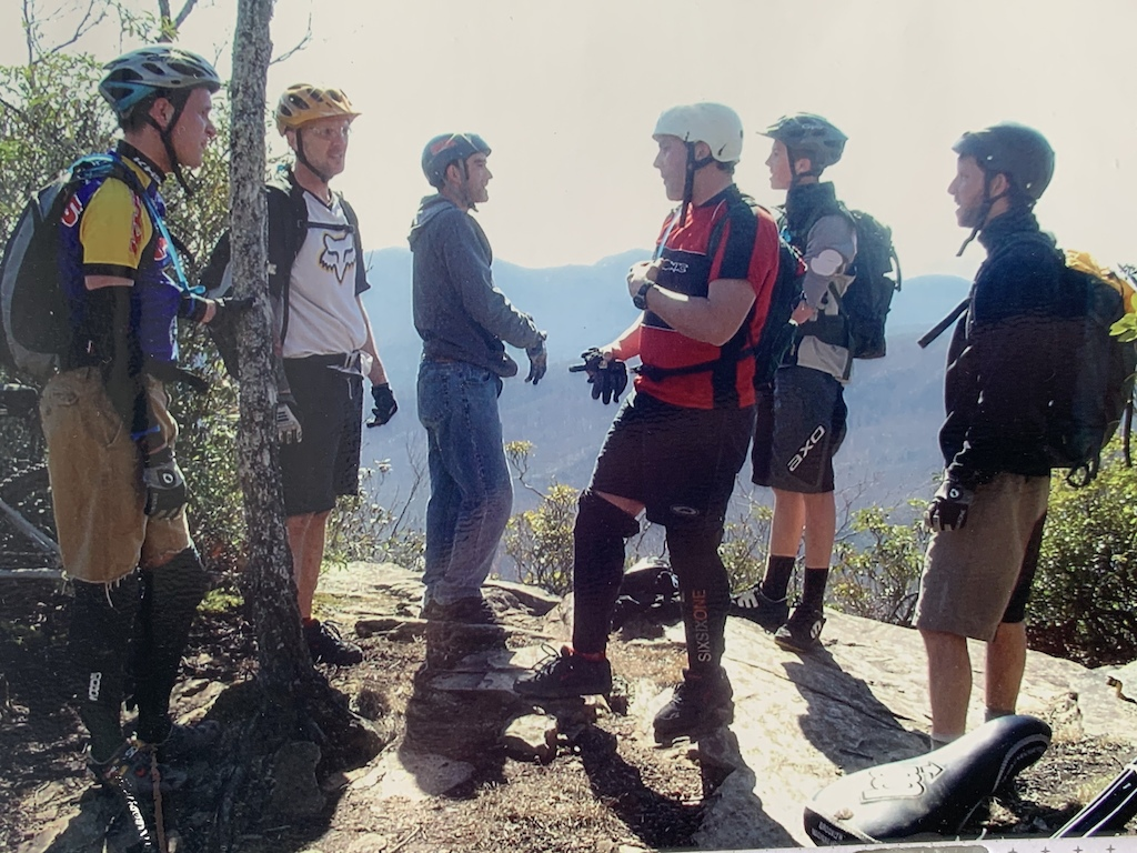 """Y2K gathering of friends on a typical weekend ride in Wilson Creek. This spot is at the top of a trail that became known as SMP (Shit My Pants), so steep that no one ever successfully rode it. But damned if there weren't some noble attempts. (l to r) Thomas """"Buddy"""" Straighn, Matt """"Billy Bad Ass"""" Norris, Javi Vega, Evan """"Mac Tool"""" St.Clair, Kendall """"Dangerous Darnell"""" Isenhour, Brian """"Moron"""" Tunstill. And yours truly """"Wyld Willy"""" behind the lens"""