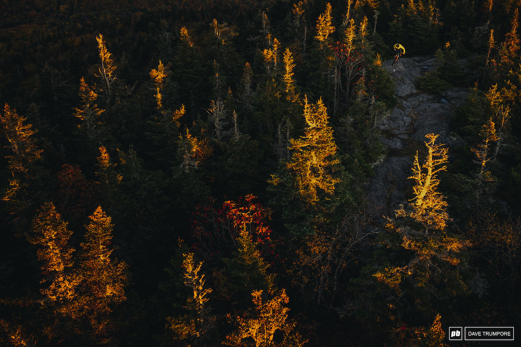 Jake Inger grabs the last sliver of light at the top of Burke Moutain in VT, home of the Enduro World Series this coming August.