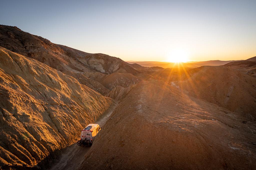 Epic sunset while filming Kirt Voreis mountain biking in California