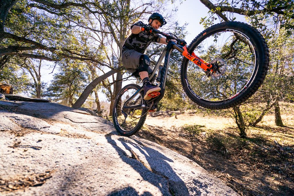 Kirt Voreis rides his mountain bike at Crestline in California