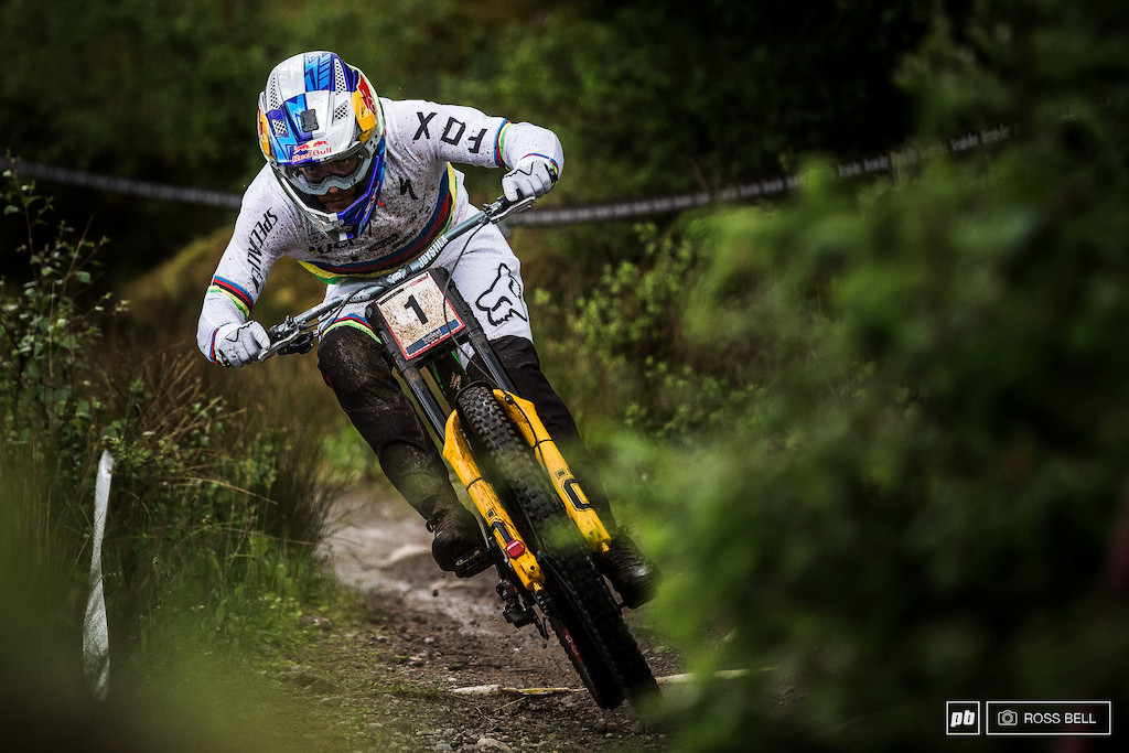 Loic Bruni pushing in his race run in Fort William in 2020 despite a big crash the previous day.