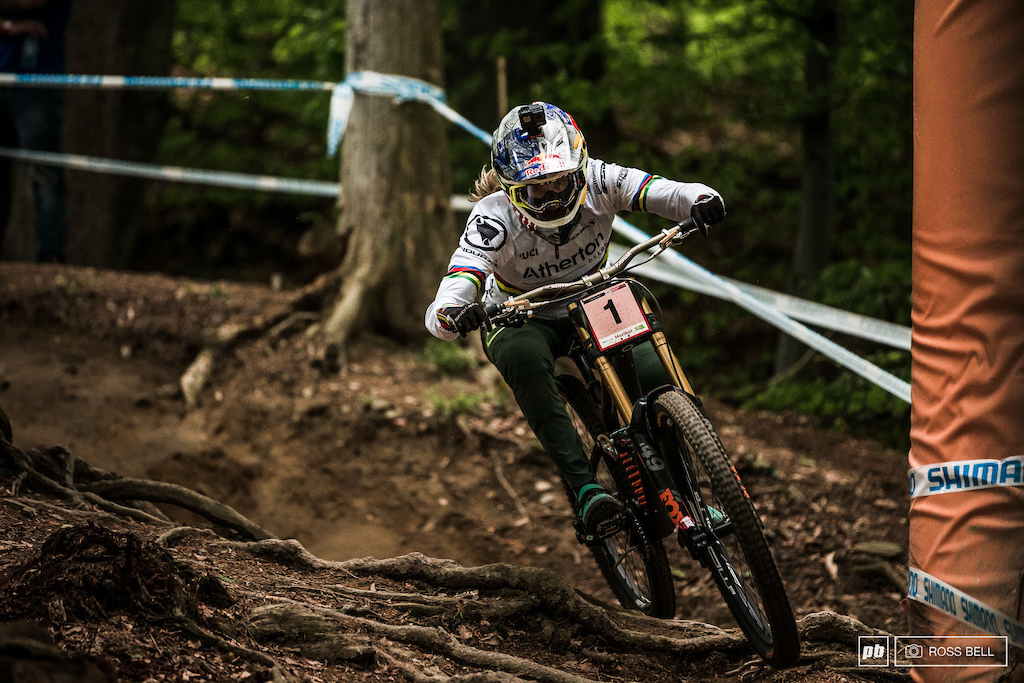 Rachel Atherton floating over the Maribor roots in 2019.