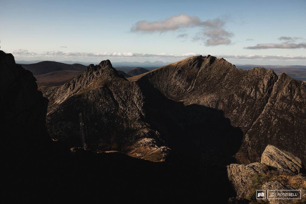 Looking across to Caisteal Abhail from Goat Fell on the Isle of Arran, Scotland.
