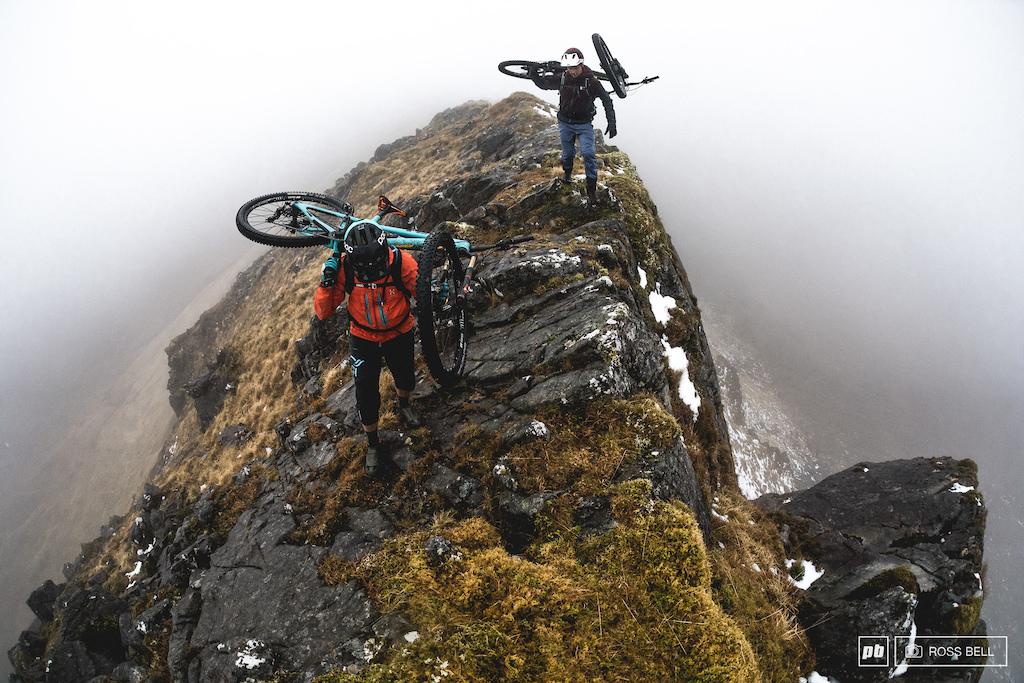 Traversing a rocky ridge line on the West Coast of Scotland.