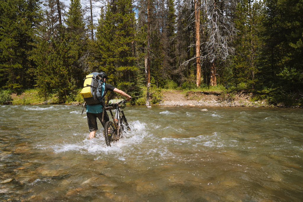 Quinn making his way across Tyaughton Creek.