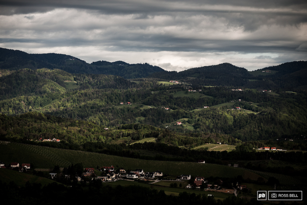 Looking over the rolling hills of Slovenia.