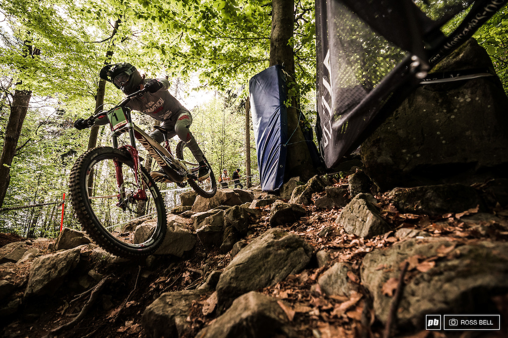 Thibaut Daprela launching through the infamous rock garden.