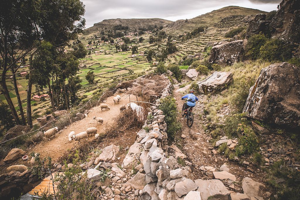 Riding at longest island in the highest navigable lake in the world Lake Titicaca. We went to explore the trail of the Amantani island epic conditions and technical trails. Nicolas Chirinos