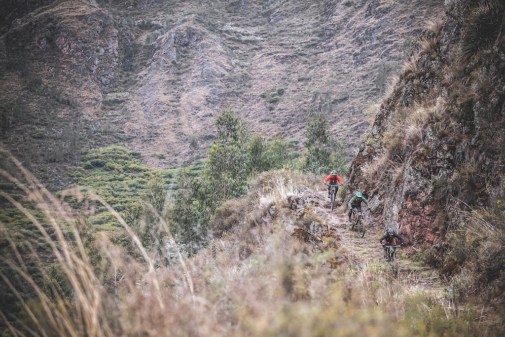 Old trails from the Huama community above Lamay. Impressive line. Nicolas Chirinos Gabriel Benoit Vicente Chirinos