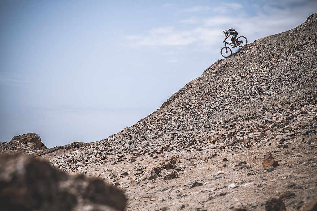 Typical arid and desert terrain on the Peruvian coast. Puerto Inca has some epic routes. It is a spot where the mountains are very close to the coast resulting in many fast technical trails at sea level. Derek Dyer