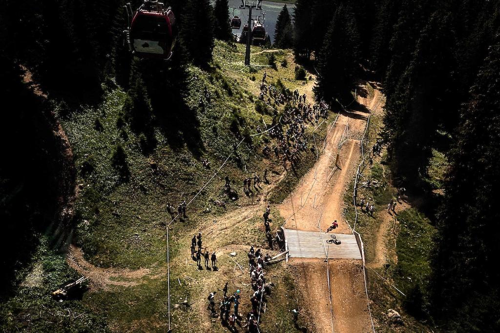 Charlie Hatton at the UCI Downhill World Cup in Lenzerheide Switzerland.