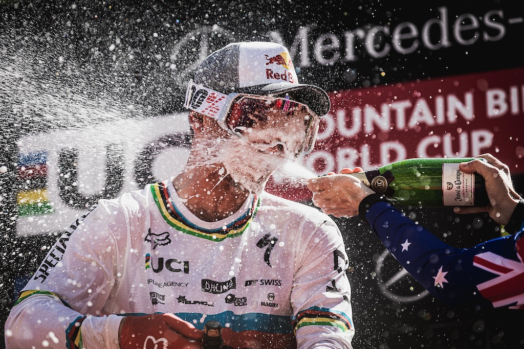 Champagne showers for Loic Bruni in Vallnord Andorra.