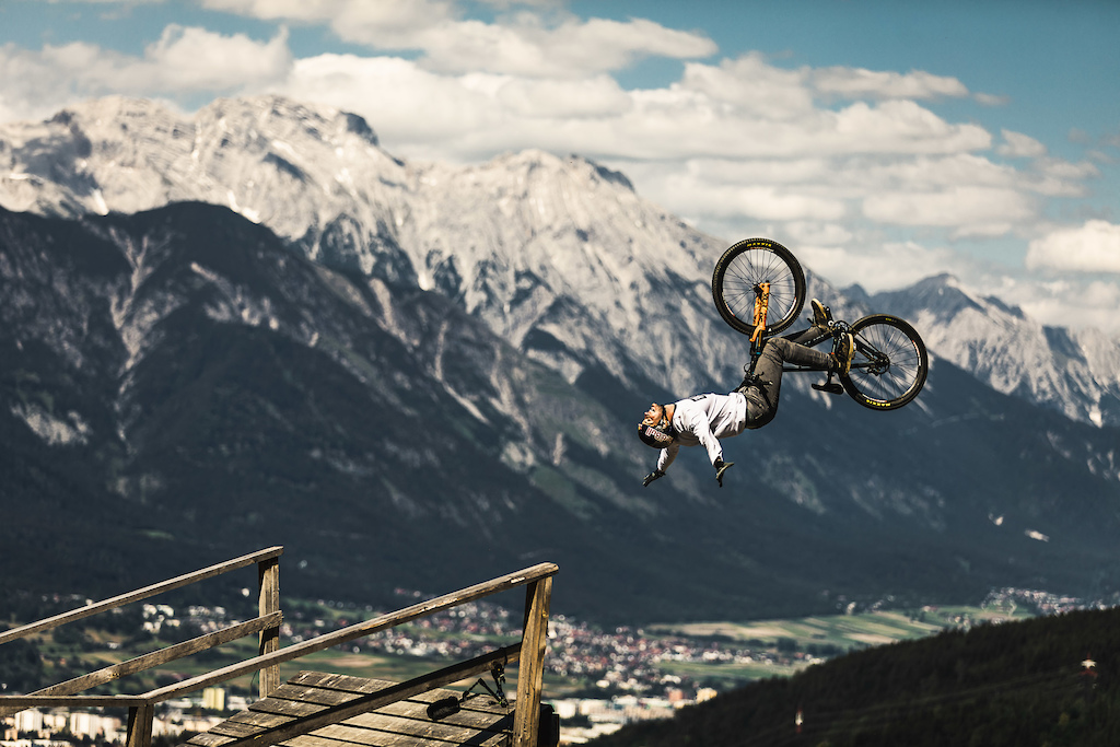 Matt Jones suicide flip during Slopestyle at Crankworx Innsbruck 2018.