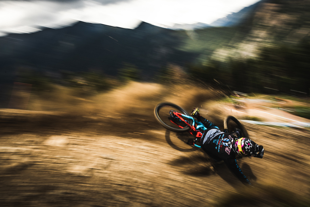 Pan-shot as Mike Jones washes out on an iconic turn in Vallnord Andorra.