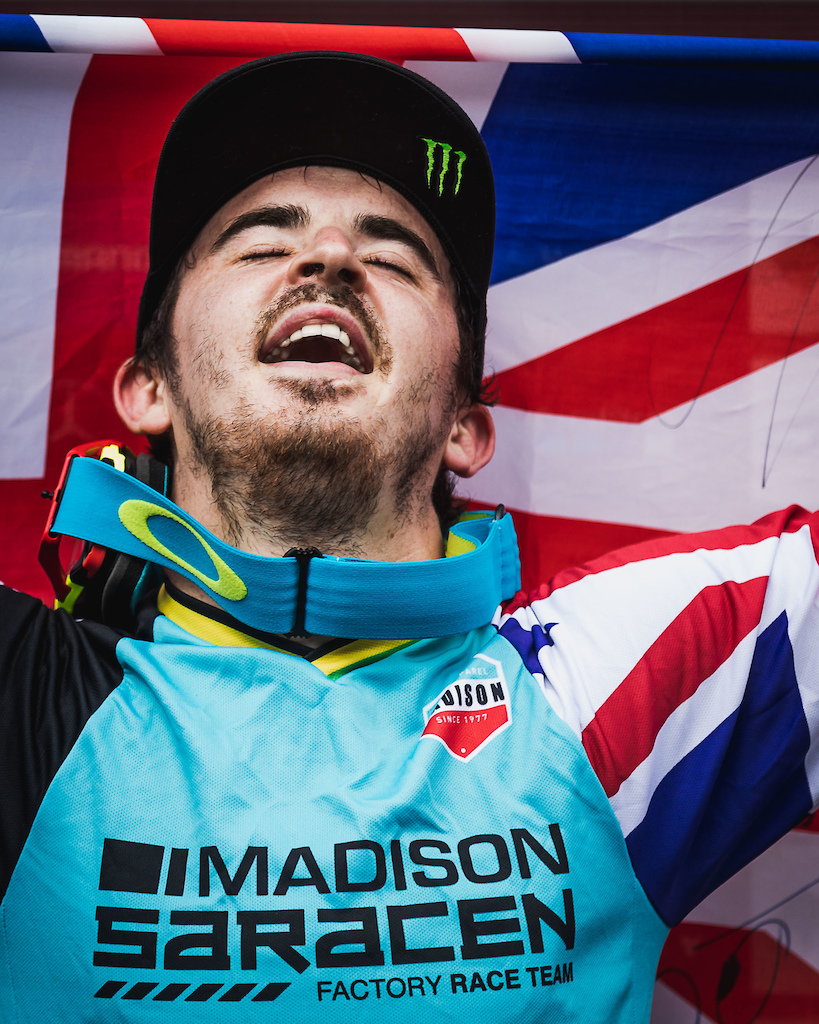 Danny Hart at the UCI Downhill World Cup in Snowshoe USA.