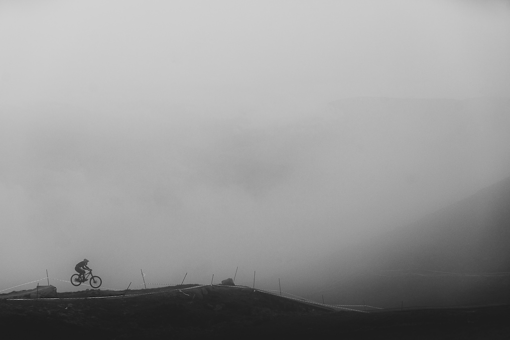A foggy morning at the British Downhill Series in Fort William Scotland.
