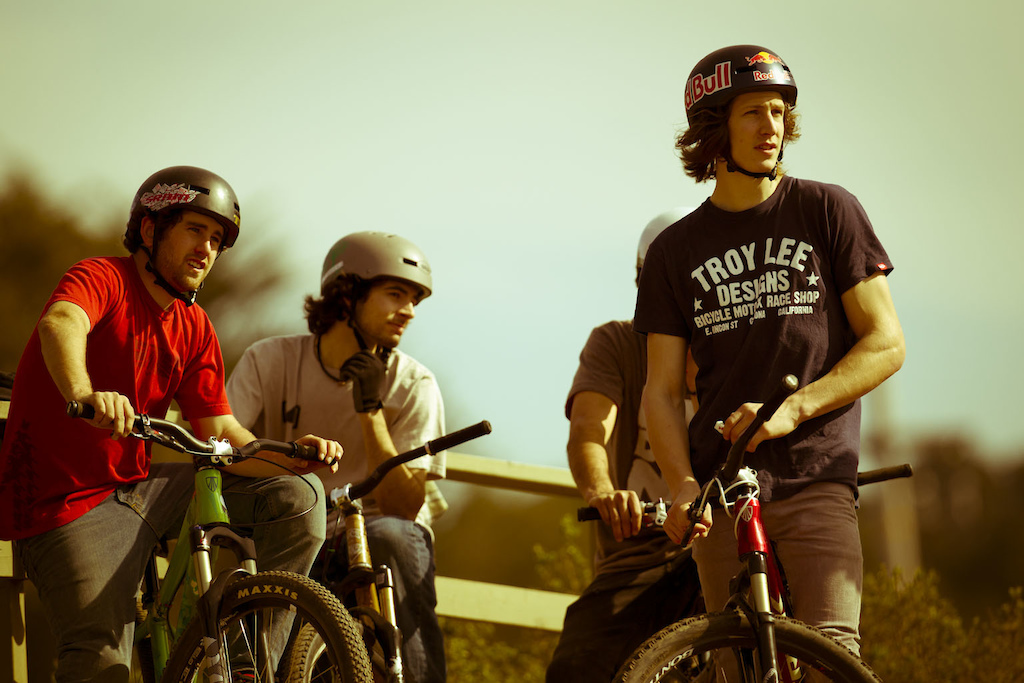 Ryan Howard Alex Reveles Brandon Semenuk waiting to drop in during the filming of Anthill s new film Strength In Numbers March 2012.
