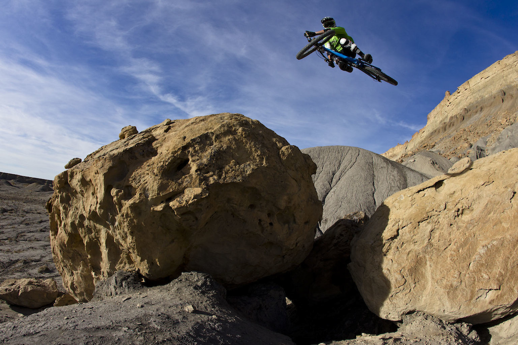 Thomas Vanderham jumps over a rock gap during the filming of Anthill s new film Strength In Numbers March 2012.
