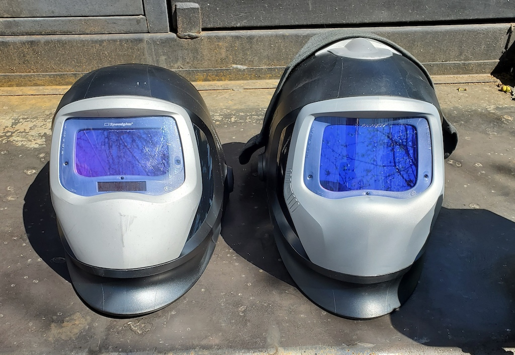 My 3M Speedglas set of industrial hoods for jobs that require hard hats and in some cases a PAPR filter system.