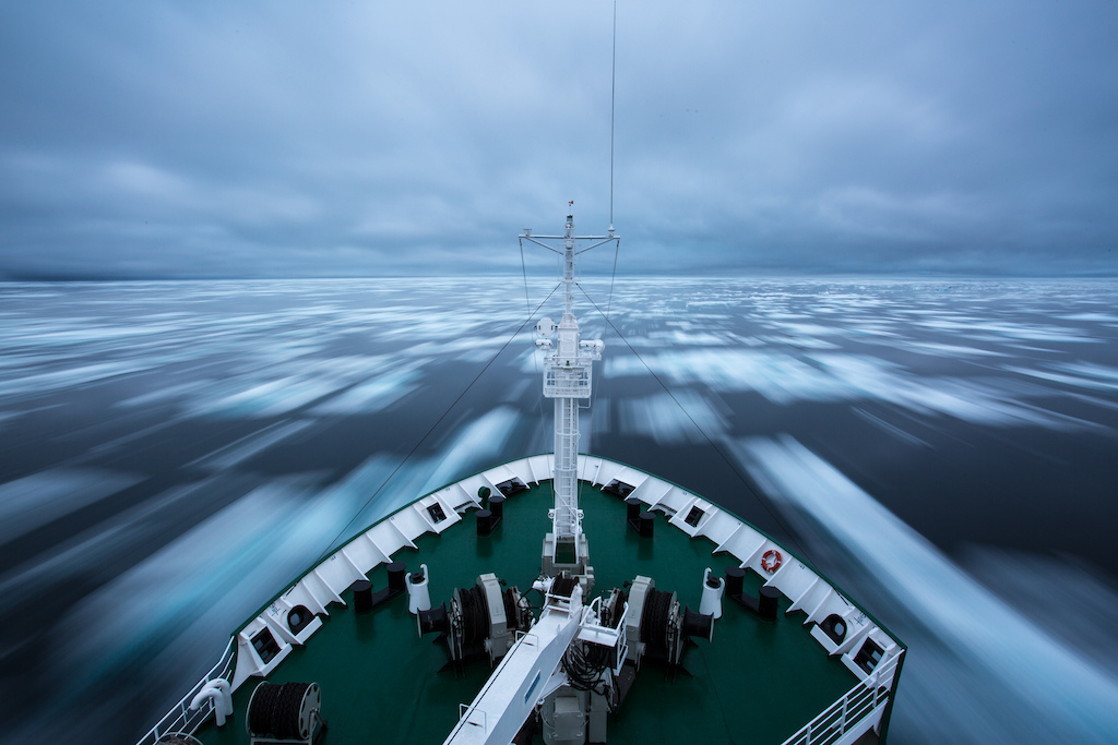 Plowing through the sea ice through the North West Passage