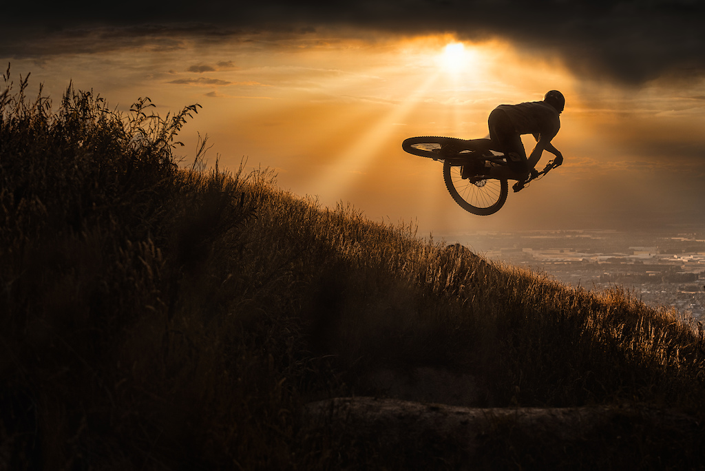 Sam Blenkinsop laying it over in the evening sunset