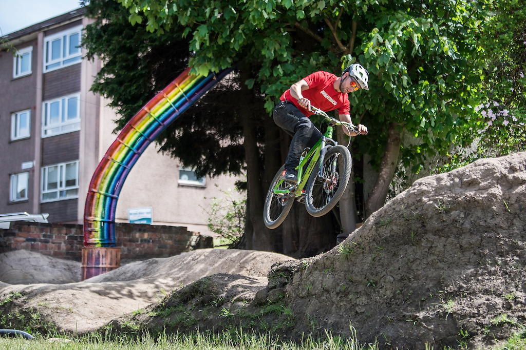 Bike crazy Ramsay MacFarlane 34 from Glasgow has spent 5 weeks during the lockdown building a 75 square meter pump track in his section of his back garden.