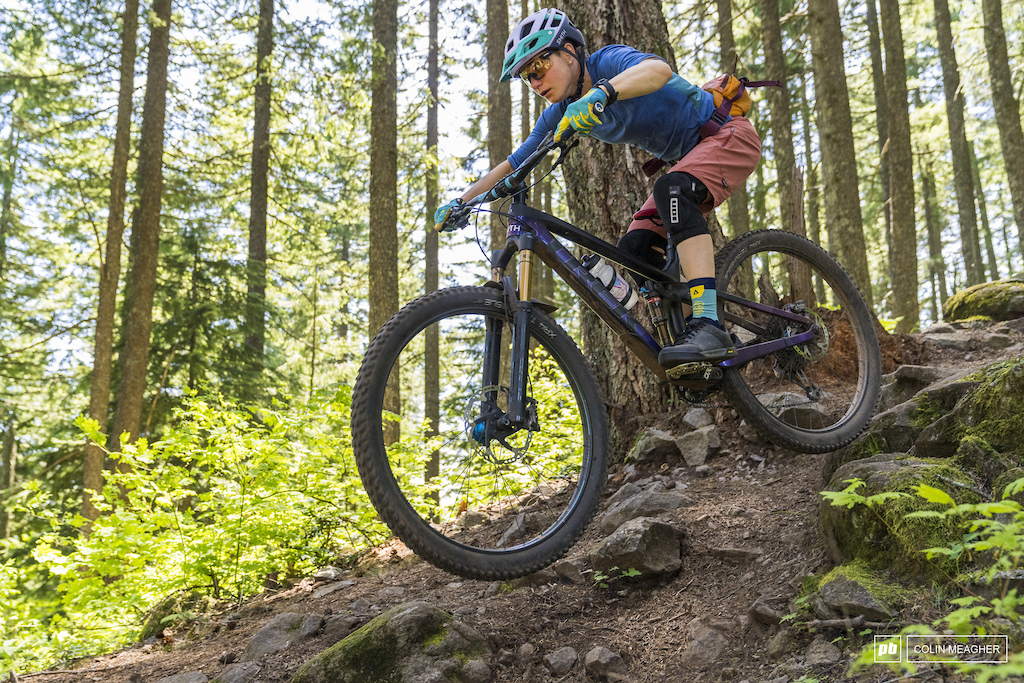 Giro Bekah Rottenberg testing traction on Hidden Trail in Post Canyon outside of Hood River OR