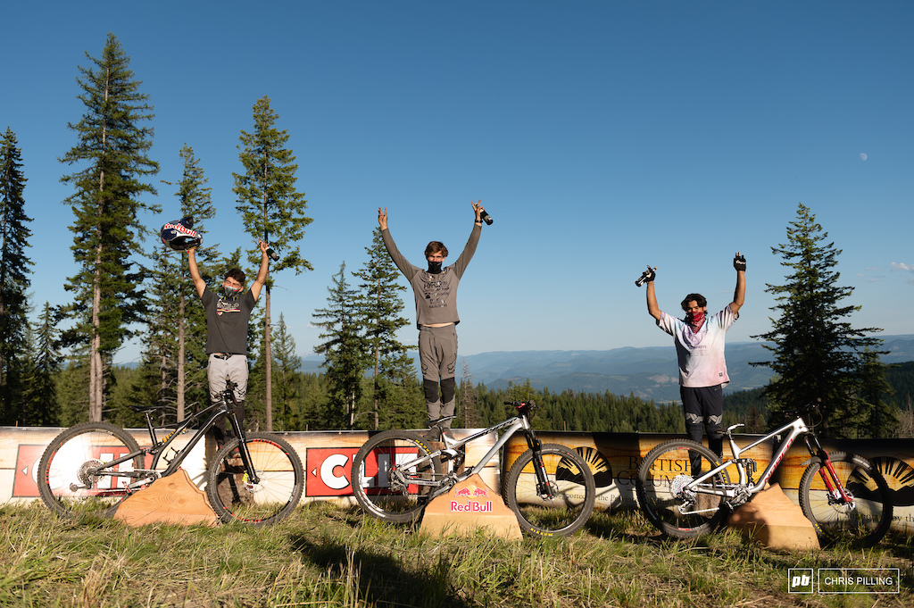 Your mens podium 1st Bas Van Steenbergen riding Hyper 2nd Finn Iles riding Specialized 3rd Lucas Cruz riding Norco