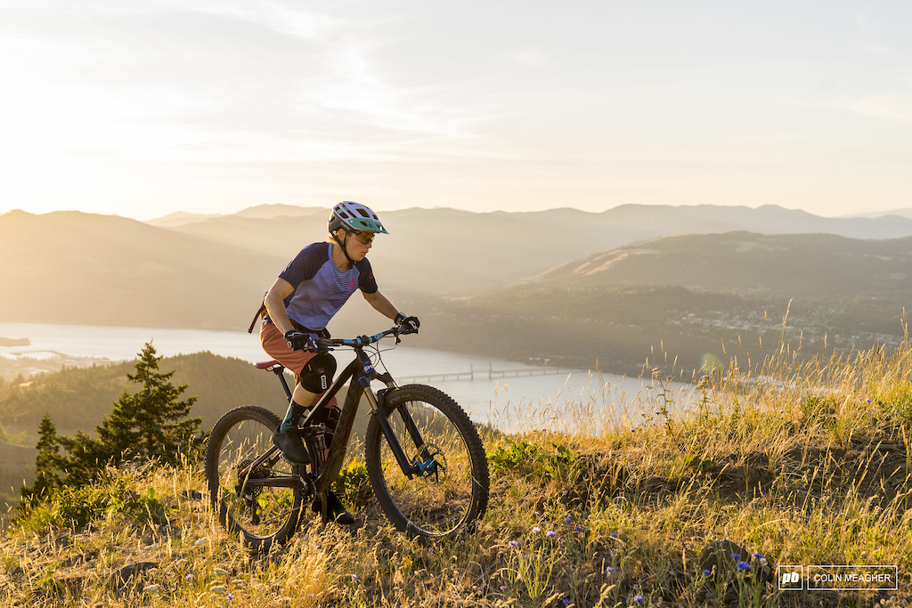 Etnies Bekah Rottenburg high above Hood River for a sunset ride.