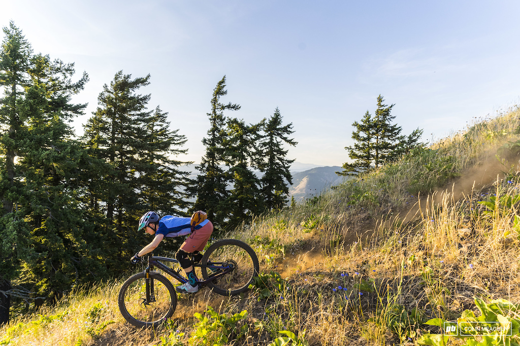 Unparalleled Bekah Rottenburg high above Hood River for a sunset ride.