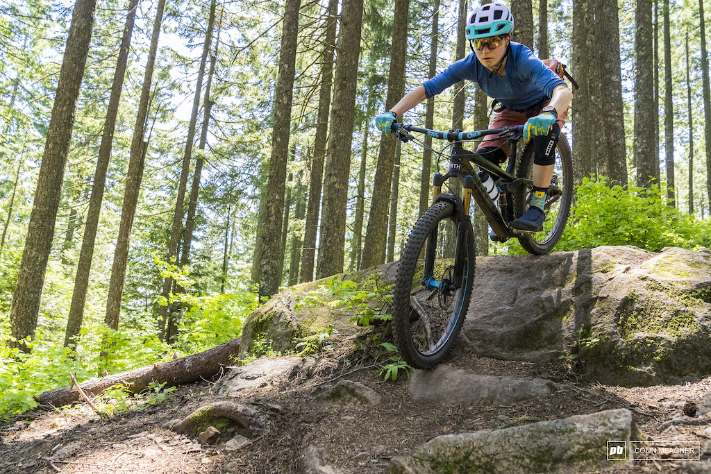 Shimano Bekah Rottenberg testing traction on Hidden Trail in Post Canyon outside of Hood River OR