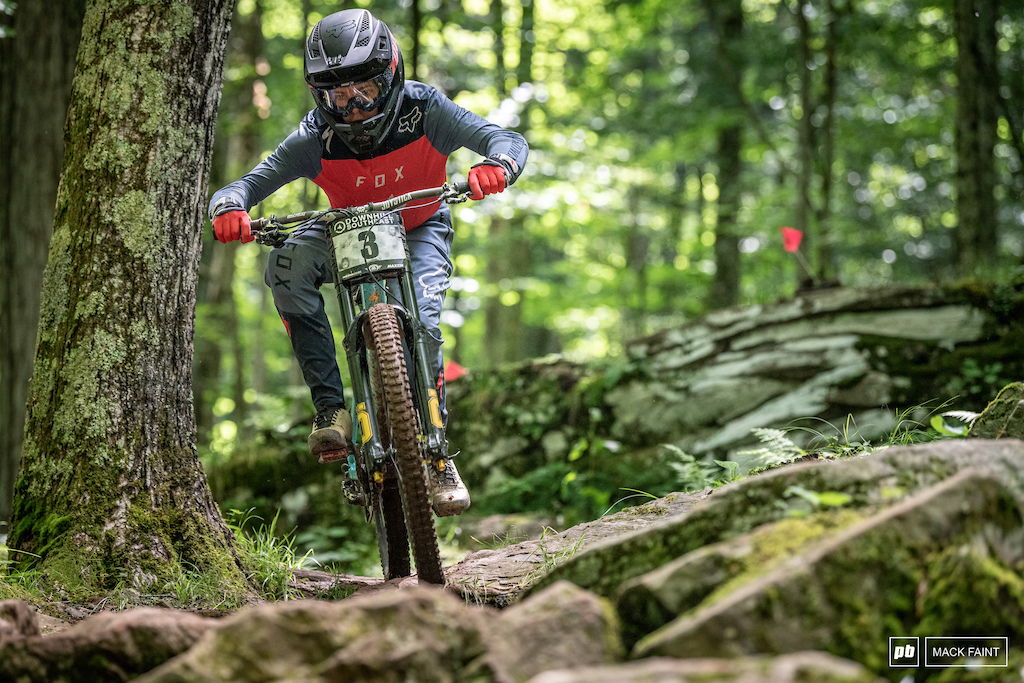 Young Specialized pilot Chris making his way through the rocks at Snowshoe. The results don t show but he was on it all weekend.