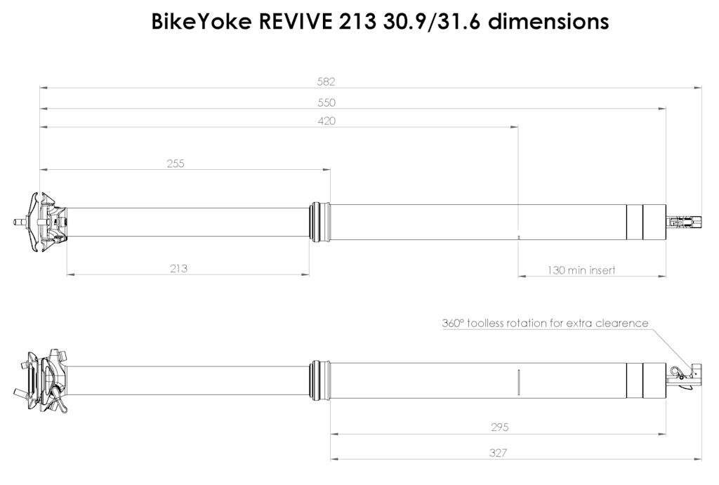 BikeYoke Revive 2.0 Drawing 213mm