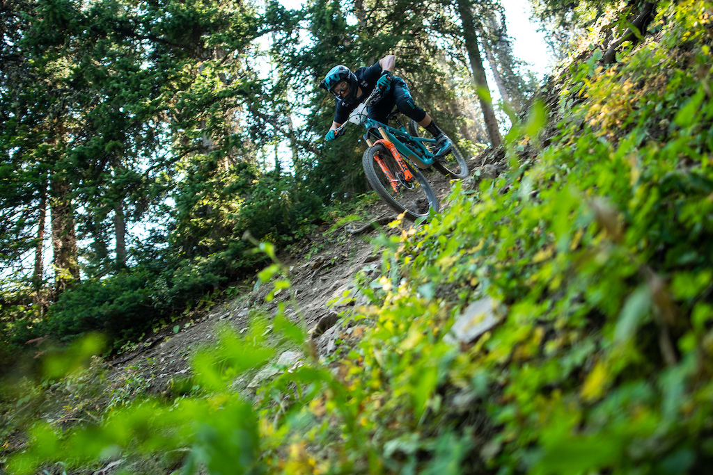 Quinn Reece making a near vertical section look near vertical on the stage 6 Revenge steeps.